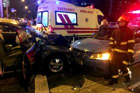 HORRIFIC: Seven vehicles were involved in the accident on Thursday night. Three men were injured and were taken to hospital. One of the men suffered a severed foot.