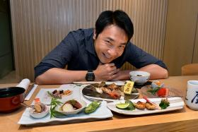 GOING JAPANESE: (Above) Tay Ping Hui with his favourite Japanese fare at Tatsuya in Goodwood Park Hotel.