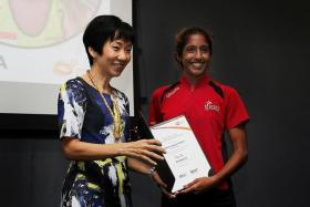 ELITE: Shanti Pereira (right, with Minister for Culture, Community and Youth Grace Fu)