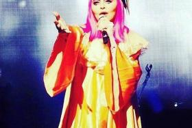 ANTICS: Madonna in clown costume at the Melbourne performance at Rod Laver Arena.