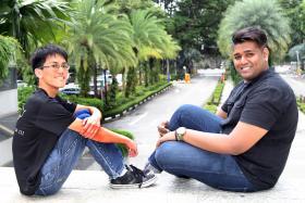 ROLE MODELS: Mr Lim Bo Zhi (left) and Mr Vishnucharan Naidu, are recipients of Singapore Polytechnic's annual Model Student Awards.