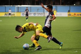 SHORT-LIVED: Tampines Rovers' Hafiz Sujad (right) in action in their 1-1 AFC Cup draw with Ceres La Salle at the Jalan Besar Stadium last night. Hafiz put the home side in the lead in the 69th minute, only for Adrian Gallardo to equalise in the 88th minute.