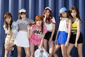 S'PORE DATE: Apink will be holding a mini concert and fan meeting here on April 2. From left are Nam Joo, Ha Young, Cho Rong, Na Eun, Bo Mi and Eun Ji.