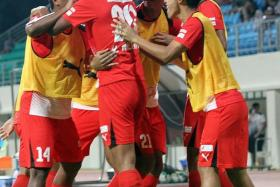FIRST WIN: Home United players celebrating one of their goals in the 4-1 victory over the Garena Young Lions.