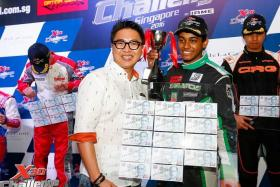 FAST AND FURIOUS: (Above) Pavan Ravishankar after winning the first round (senior category) of the X30 Challenge Singapore 2016. Pavan in action.