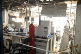AFTERMATH: The damage caused to the laboratory by the blast at gas manufacturing firm Leeden National Oxygen.