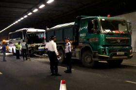 DESTROYED: The front part of the bus was smashed in the crash with a tipper truck.