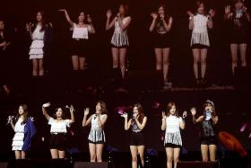 HAPPY: (Above) Apink celebrated their fifth anniversary with fans last Saturday.