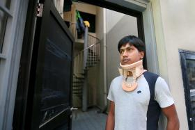 ROW: Bangladeshi worker Ashraful Mohamad is involved in a workplace dispute with his employer after he claimed to have been injured at work.