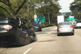 FLIPPED: A car turned turtle near Fort Road on the East Coast Parkway in the direction of Ayer Rajah Expressway.