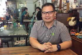 Mr Dennis Lau, upcycling enthusiast, now owns a cafe that is filled with his own products.