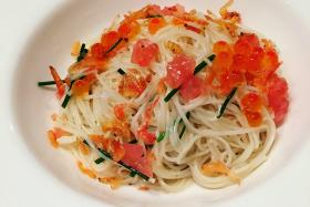 """""""This place has been described as the best kept secret for oysters. You may want to pair your oyster or sashimi platter with their chilled cappellini ($15). It's a pretty plate of Japanese angel hair, ikura, sakura shrimp and dashi."""