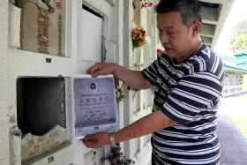 EMPTY: Mr Tommy Lim and his mother found his sister's niche broken into and the urn with her ashes gone when they went to pay their respects for the Qing Ming Festival.