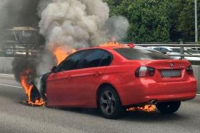A BMW caught fire along the CTE on Sunday afternoon.