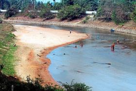 HEATWAVE: (Above) A dried-up Sungai Golok, a dam in Johor with dropping water levels and water rationing taking place.