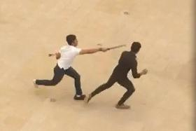 VIOLENT: A screengrab from video footage showing the slashing incident at ITE College West's campus.