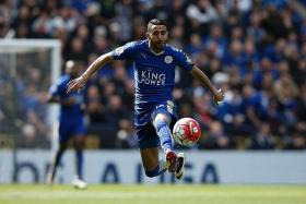 FLYING FOX: Riyad Mahrez (above) must fly solo tomorrow as Jamie Vardy is suspended.