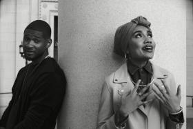 Yuna and Usher on set of the music video for Crush.