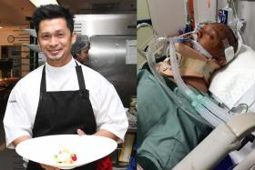 BEFORE & AFTER: (Left) Mr Muhammad Haikal Johari working as a chef in Bangkok and when he was in hospital after the accident (right).