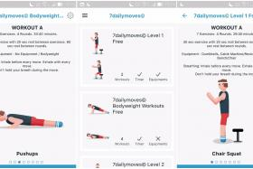 Screenshots from the 7 Daily Moves app, a fitness app made in Singapore that teaches users how to perform workouts.