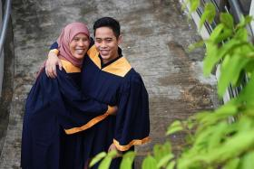 FAMILY: Madam Serimaryati Abdullah and her son Mr Muhammad Nur Aniqq Ab Rahim will be graduating with a Diploma in Health Sciences (Nursing) and a Diploma in Electronic and Computer Engineering respectively.