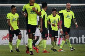 HERO: Tampines Rovers' Hafiz Abu Sujad (centre, No. 16) celebrating his goal with the rest of his teammates.