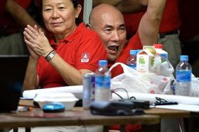 SUPPORT: (Above) Actress Neo Swee Lin and her husband, actor Lim Kay Siu, were at Dr Chee Soon Juan's SDP rally yesterday.