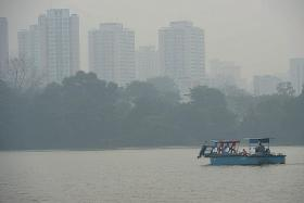 HAZY: A view of Jurong Lake Park - shrouded by the haze - last October.