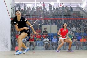CALM AND COMPOSED: RI's Annabelle Lim (above left) dished out an assured performance against her NJC counterpart Lee Ying Xi to seal first place for her team.