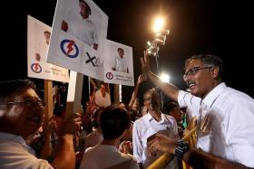 "HOPEFUL: PAP candidate for the Bukit Batok by-election, Mr Murali Pillai, told residents to vote ""for certainity"" at last night's rally."