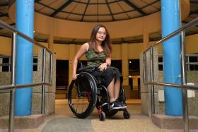 LIFE-CHANGING: Ms Azlin Amran fell into a gap in an escalator more than three years ago. She is now wheelchair-bound.