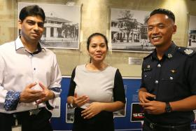 MENTORS: (From left) Outram Secondary School teachers Ajamal Khan and Zaiton Mohamed Punither Basa with Staff Sergeant Mohd Hafeez Mohd.