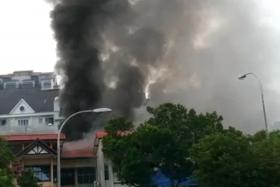 FIGHTING FIRE: The Singapore Civil Defence Force was alerted to the fire at Pre-School By-The-Park at 6.50am.