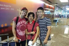 FAREWELL: (From left) Mr Marshall Lim, Ms Jariyah and Mr Mayor Lim at the airport.