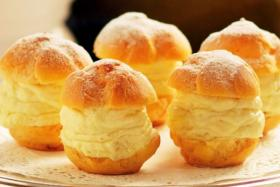 The famous durian puffs from Goodwood Park Hotel's bakery.