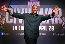 Anthony Mackie at Marina Bay Sands in Singapore on April 21 during a press tour to promote Captain America: Civil War.