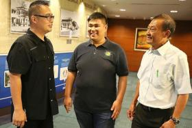 REFORM: Mr Sean Foo (centre) was once part of a gang. After he was caught following a gang fight, he joined the Streetwise Programme and turned over a new leaf. Mr Goh Poh Hua (right) was one of the SSB officers that would frequently check up on Mr Foo. Inspector Eric Toh (left) is a current SSB officer whose job entails preventing youth from joining gangs.