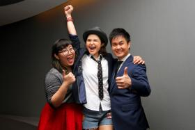 Elizabeth Low, Olinda Cho and Ng Chee Yang (left to right) - will be representing Singapore in reality TV singing competition China Super Vocal 2016 in late July.