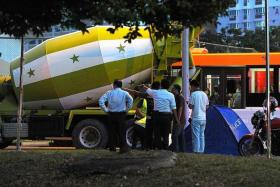 FATAL: The driver of this cement truck hit two brothers, aged 13 and seven, who were crossing a traffic light junction in January 2013.