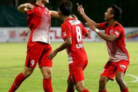 DEADLY TRIO: Home United's recent good form is attributed to Azhar Sairudin (No. 8) providing the assists and forwards Ken Ilso (far left) and Faris Ramli (above) providing the finishing touches.