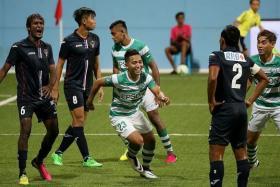 EAGLES STRIKE BACK: Geylang International striker Sahil Suhaimi (No. 23) celebrating after scoring his side's first goal.