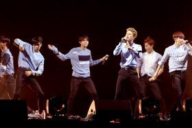 Korean band VIXX onstage at their concert at the MegaBox Convention Centre, May 29, 2016.