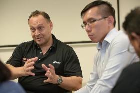 NEW TEAM: Todd Vladich (left) has been seconded to the Singapore Floorball Association as general manager while Kenneth Ho (right) was appointed interim president.