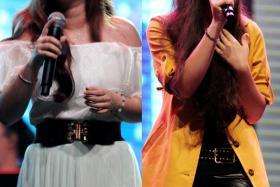 SINGERS: Contestants Curley Gao (right) and Zhang Zhi Ling (left) will be among the five singers representing Singapore.