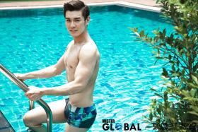 MR CHARMING: Mr Noel Ng in the swimwear round of male beauty pageant Mister Global.