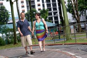 SUPPORT: Mr Sim Tharn Chun says his wife, Mrs Cathryn Sim, has been his pillar of strength, accompanying him on evening walks and being his ears.