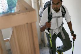 Mr Prasatt Arumugam climbs flights of stairs for at least two hours every day.