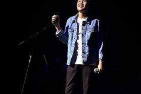 POPULAR: Local singer-songwriter Joel Tan, known as Gentle Bones, serenaded the crowd at his sold-out concert last night.