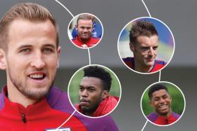 FAMOUS FIVE: England's strikers Harry Kane (above), Marcus Rashford, Daniel Sturridge, Jamie Vardy and Wayne Rooney.