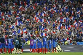 ALLEZ LES BLEUS: France players celebrating with their fans after their last-gasp win over Romania.